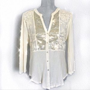 Anthropologie Tiny Lace and Sequin Cream Top